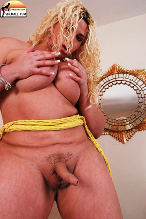 BBW Shemale Showing Uncut Cock