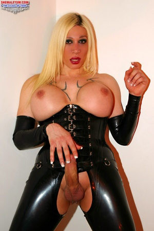 Big Cock TGirl in Shiny Rubber and Latex