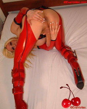 TGirl Spreading in Shiny Latex Stockings