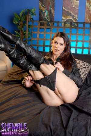Mega Cock Shemale in Thigh Boots