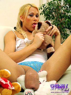 Saline Injected Tranny Silicone Cock